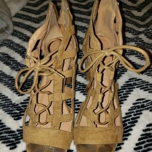 Tan caged booties with chunky heel